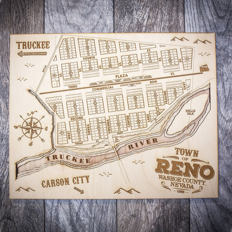 """Vintage Reno (8""""W x 10""""H x 1.5""""D)"""