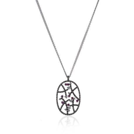 Piero Milano 18k White Gold Diamond + Ruby Necklace // Store Display