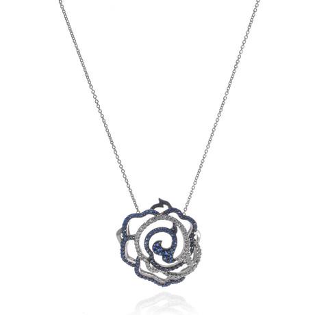 Piero Milano 18k White Gold Diamond + Sapphire Necklace // Store Display