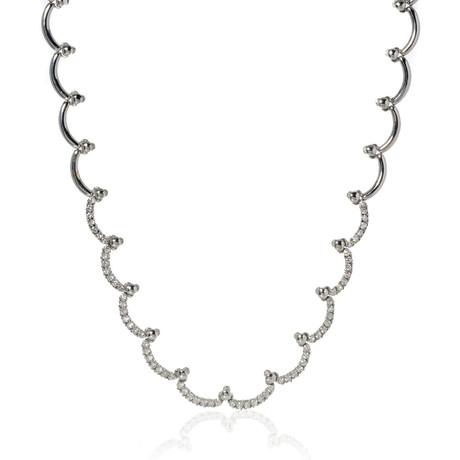 Piero Milano 18k White Gold Diamond Necklace III // Store Display