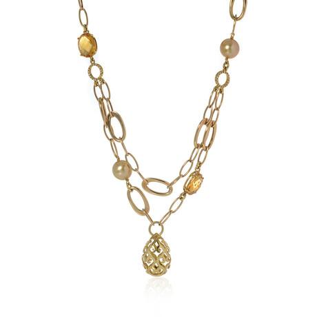 Piero Milano 18k Yellow Gold Diamond + Pearl Necklace // Store Display