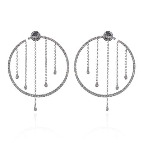 Piero Milano 18k White Gold Diamond Earrings I // Store Display