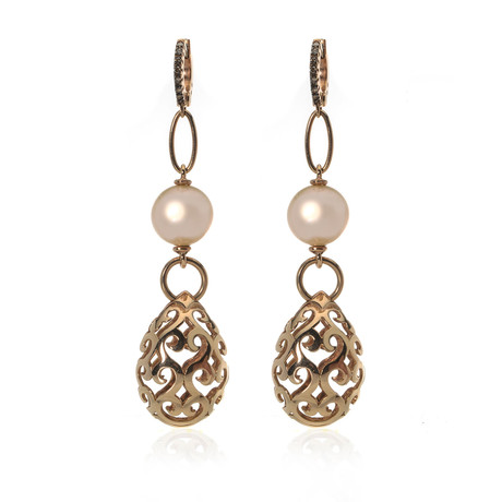Piero Milano 18k Rose Gold Diamond Earrings // Store Display