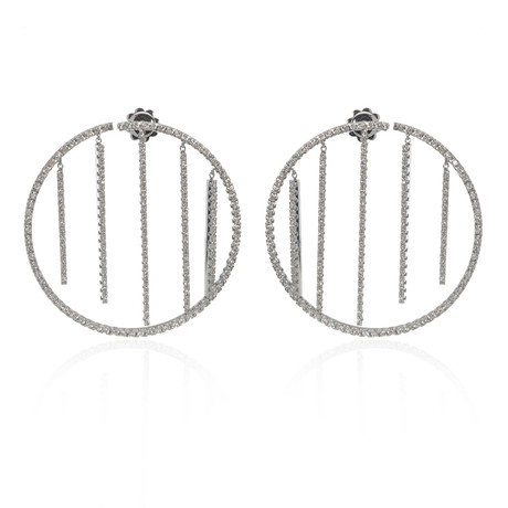 Piero Milano 18k White Gold Diamond Earrings II // Store Display