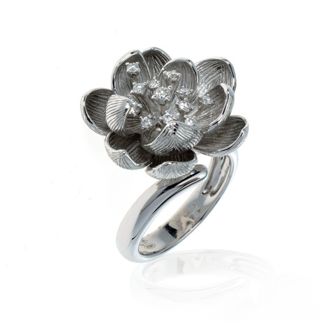 Piero Milano 18k White Gold Diamond Ring // Ring Size: 8.25 // Store Display