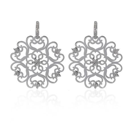 Piero Milano 18k White Gold Diamond Earrings IV // Store Display