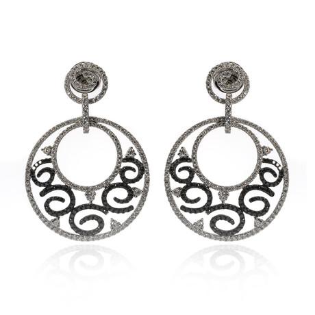 Piero Milano 18k White Gold Diamond Earrings VII // Store Display