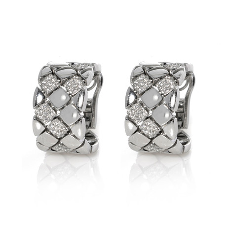 Piero Milano 18k White Gold Diamond Earrings X // Store Display