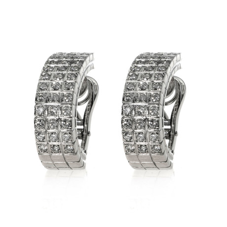 Piero Milano 18k White Gold Diamond Earrings IX // Store Display