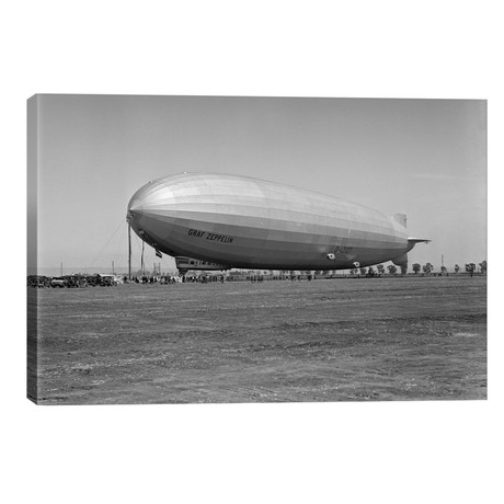 1920s German Rigid Airship Graf Zeppelin D-LZ-127 Moored Being Serviced // Small Crew October 10 1928 Lakehurst New Jersey USA // Vintage Images