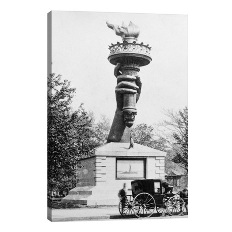 1880s Statue Of Liberty Torch On Display As A Fundraiser Madison Square New York City USA // Vintage Images