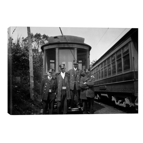 1910s-1920s 4 Men Conductors Motormen Public Transportation Transit Workers Posing In Front Of Trolley Car In Uniforms And Hats // Vintage Images