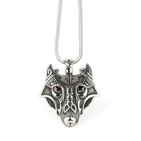 Dell Arte // Viking Wolf Pendant + Chain // Silver