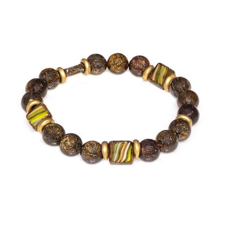 Dell Arte // Malavian Jasper + Bohemian Crystal + Brass Beaded Bracelet // Multicolor