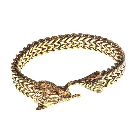 Dell Arte // Viking Wolf Head Bracelet // Yellow Gold Plated