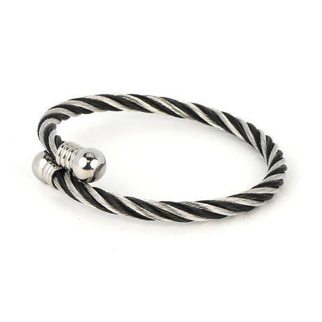 Dell Arte // Two-Tone Encrusted Steel + Twisted Cable Bangle // Black + Silver
