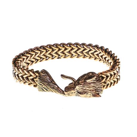 Dell Arte // Viking Wolf Head Bracelet // Rose Gold Plated