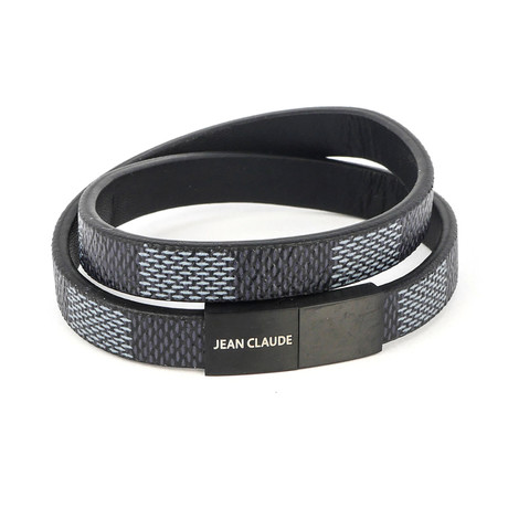 Jean Claude Jewelry // Leather + Stainless Steel Buckle Bracelet // Black + Gray
