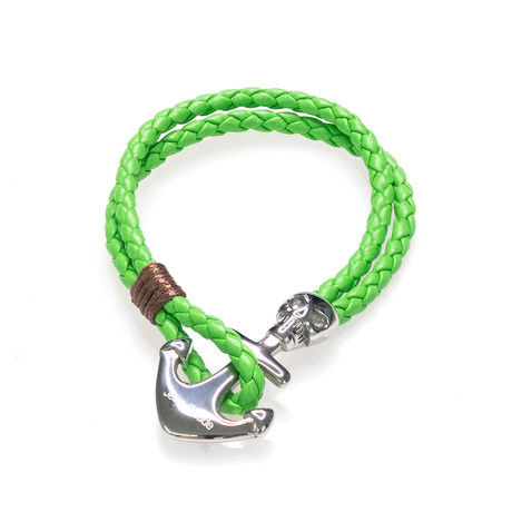 Jean Claude Jewelry // Leather + Silver Plated Skull Anchor Bracelet // Green