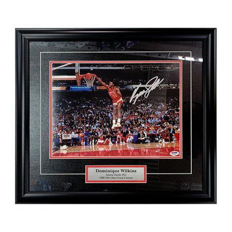 Dominique Wilkins // Framed Autographed Photo Display