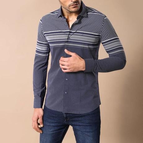 Carlton Slim-Fit Shirt // Navy (S)