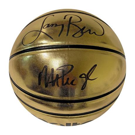 Larry Bird + Magic Johnson // Autographed Molten Gold Basketball