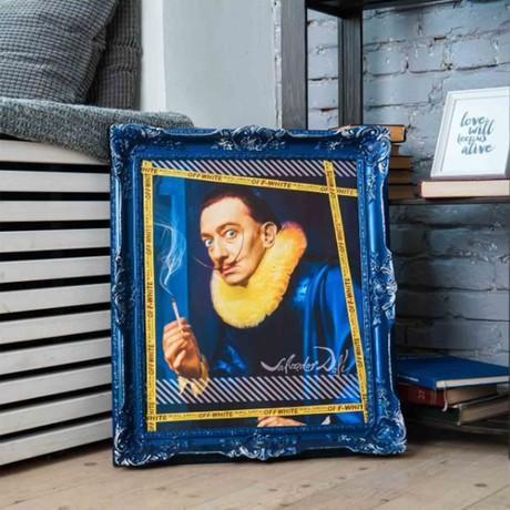 "Dali // Blue Frame (30""H x 25""W x 2.3""D)"