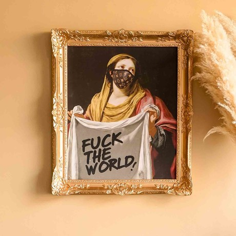 """F*ck the World // Gold Frame (15""""H x 13""""W x 1.5""""D)"""
