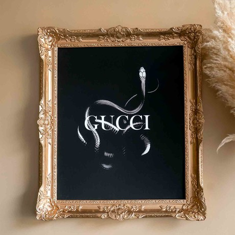 "Gucci // Gold Frame (30""H x 25""W x 2.3""D)"