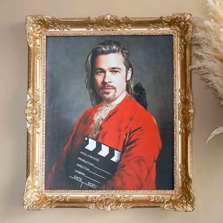 """Brad Pitt // Gold Frame (30""""H x 25""""W x 2.3""""D)"""