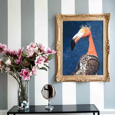 "Flamingo // Gold Frame (30""H x 25""W x 2.3""D)"