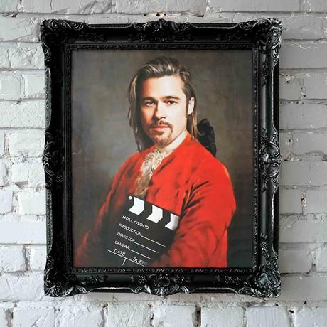"Brad Pitt // Black Frame (30""H x 25""W x 2.3""D)"