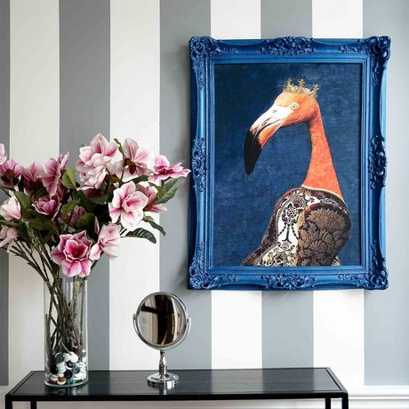 "Flamingo // Blue Frame (30""H x 25""W x 2.3""D)"