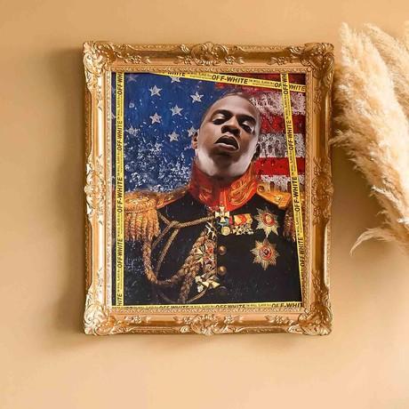 "Jay Z // Gold Frame (30""H x 25""W x 2.3""D)"