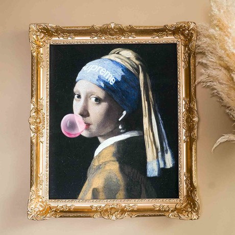 "Girl with a Pearl Earring // Gold Frame (30""H x 25""W x 2.3""D)"
