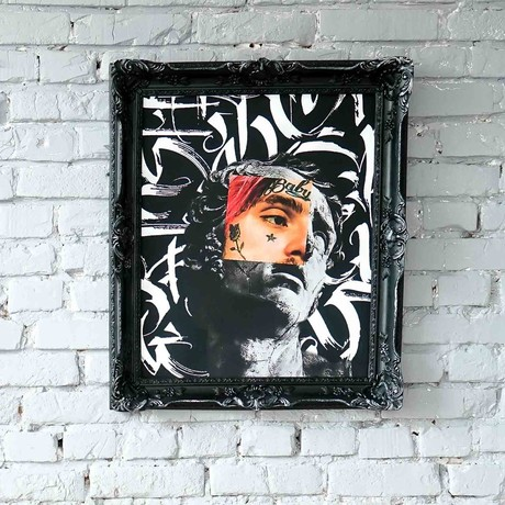 "Lil Peep // // Black Frame (30""H x 25""W x 2.3""D)"