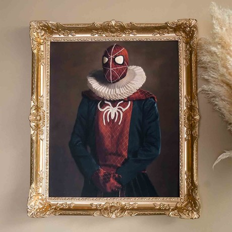 "Spiderman // Gold Frame (30""H x 25""W x 2.3""D)"