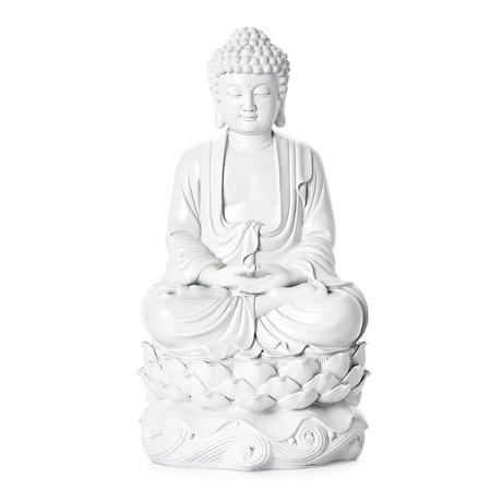 Peaceful Buddha Resin Statue // White