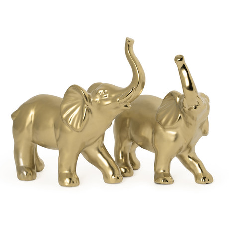 Proud Elephant // 2 Piece Ceramic Sculpture Set // Gold