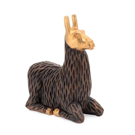 Gold Tipped Resin Llama // Sitting