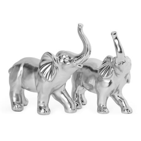 Proud Elephant // 2 Piece Ceramic Sculpture Set // Silver