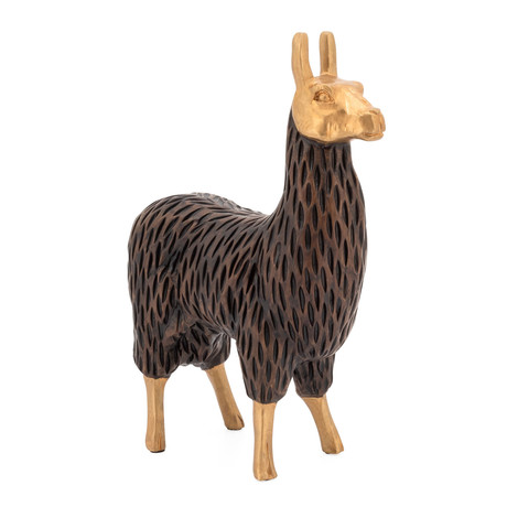 Gold Tipped Resin Llama // Standing