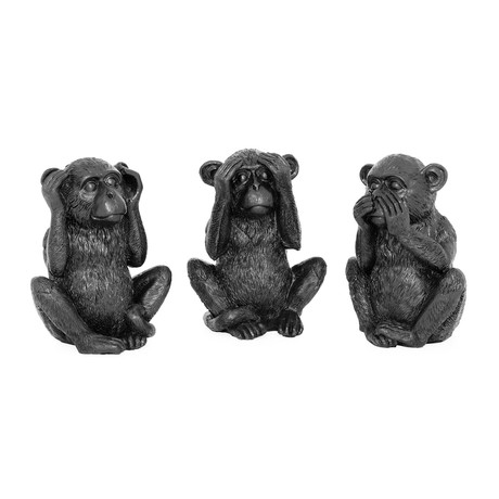 See Hear Speak No Evil // 3 Piece Black Resin Monkey Set