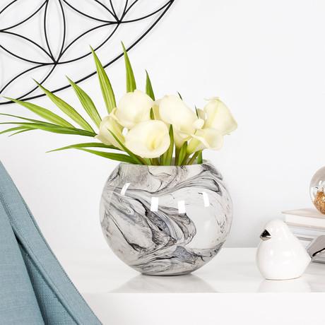 "Marble Ink Swirl Glass Ball Vase (5.5""H)"
