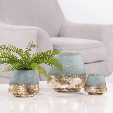 """Cambria Sea Green Metallic Etched Glass Candle Holder (6""""Ø x 5""""H)"""