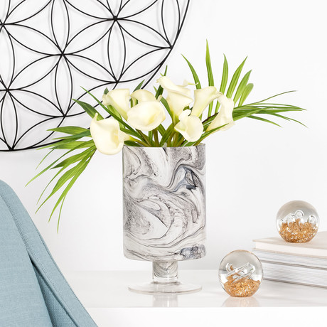 "Marble Ink Swirl Glass Cylinder Vase + Base (8""H)"