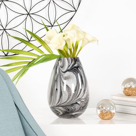 Marble Ink Swirl Glass Bullet Vase