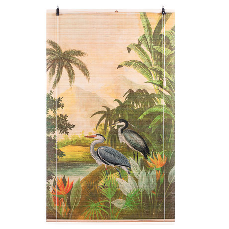 Okama Printed Natural Bamboo Roll Up Shade (Heron)