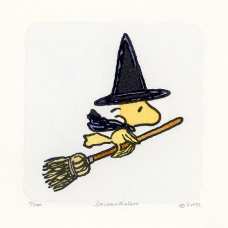 Woodstock //Broom // Peanuts Halloween Hand Painted Cartoon Etching (Unframed)