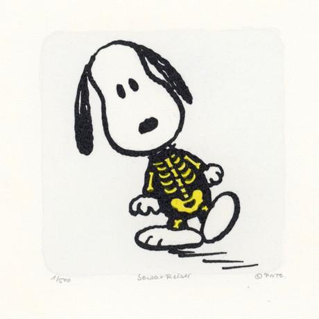Snoopy // Skeleton // Peanuts Halloween Hand Painted Cartoon Etching (Unframed)